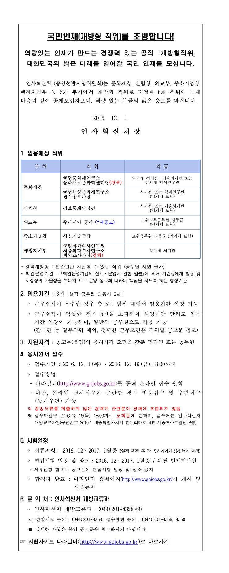 1. 개방형 직위 공개모집 안내(2016년 12월 공고)-1.jpg