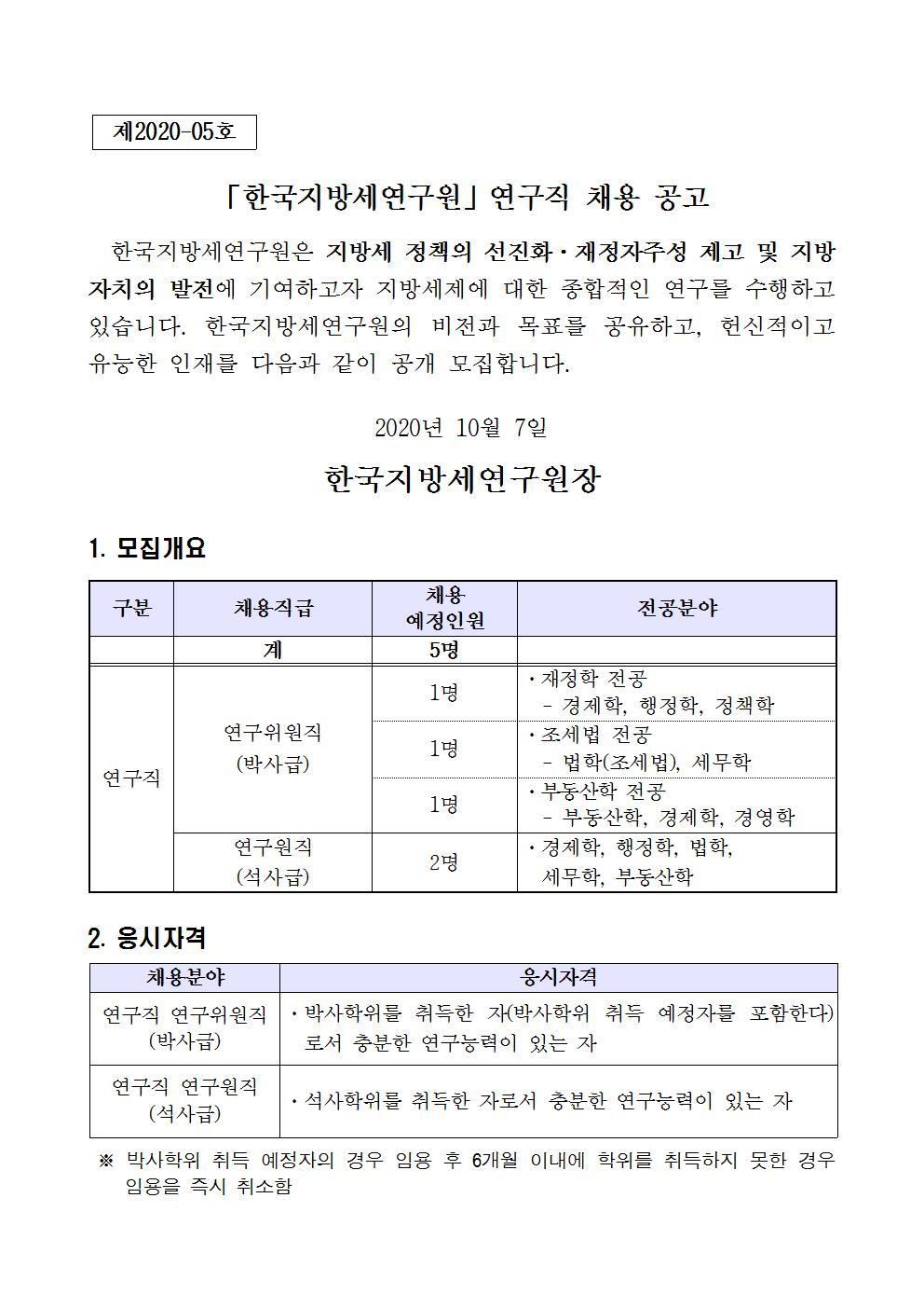 (공고문) 한국지방세연구원 연구직 채용 공고001.jpg